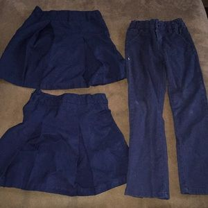 2 skirts 1 pants blue uniform clothing kids 5